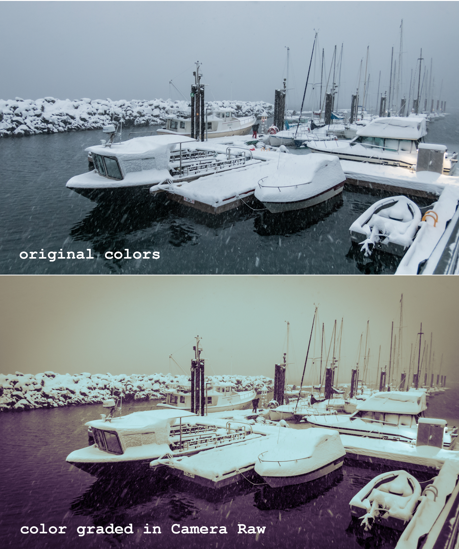 Snowy boat scene before and after applying Color Grading in Camera Raw