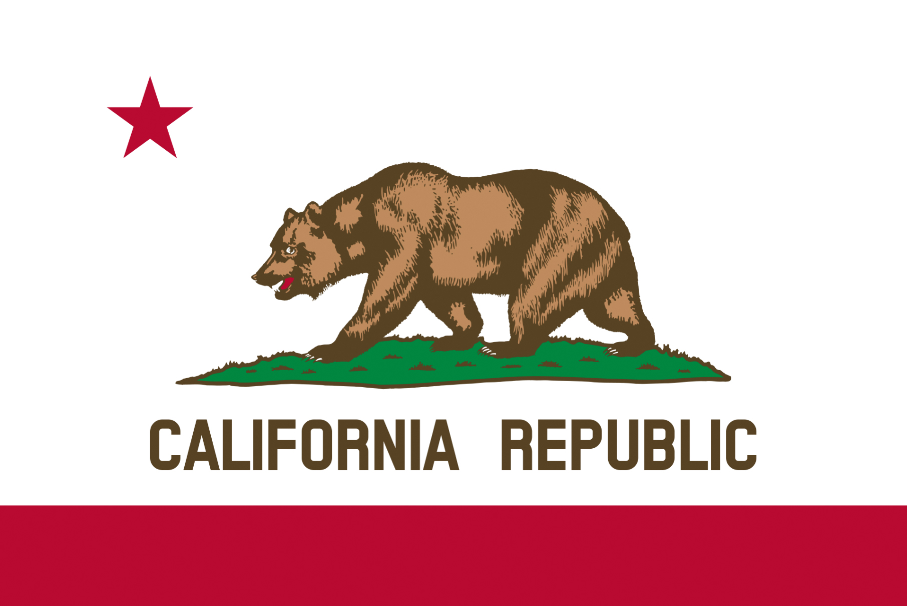 The California State flag featuring a large bear and a small red star
