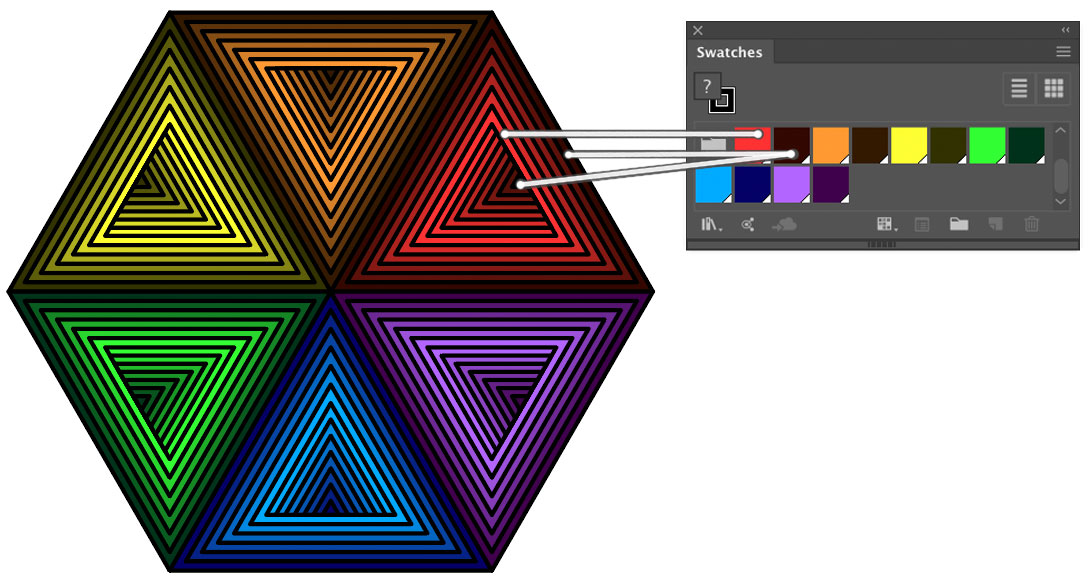 Changing the colors inside a triangular blend in Illustrator