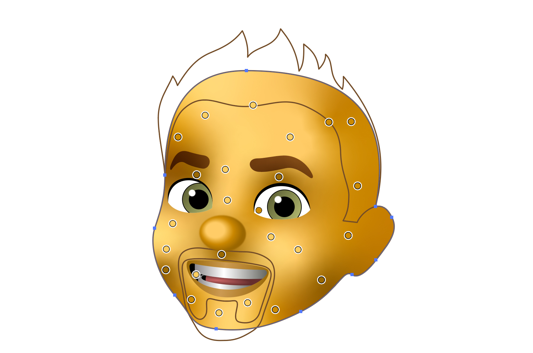 Deke's memoji with points deliniating the freeform gradient that colors his face