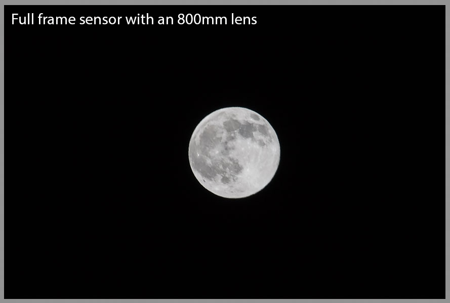 Full frame 800mm shot of the moon