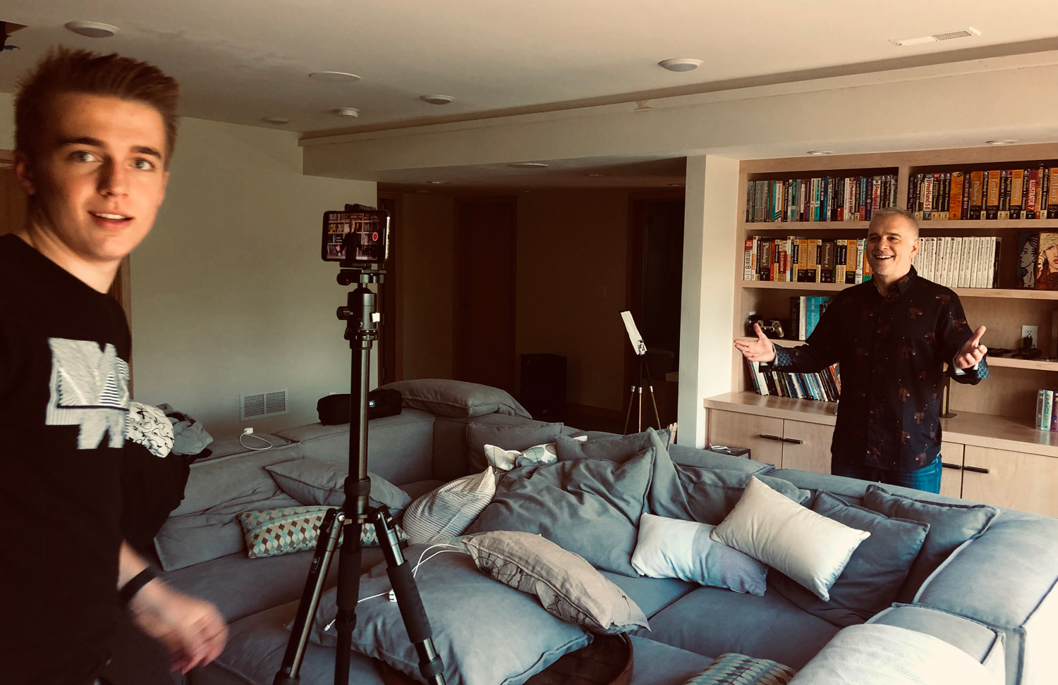 Son Max directing Deke in his latest video.