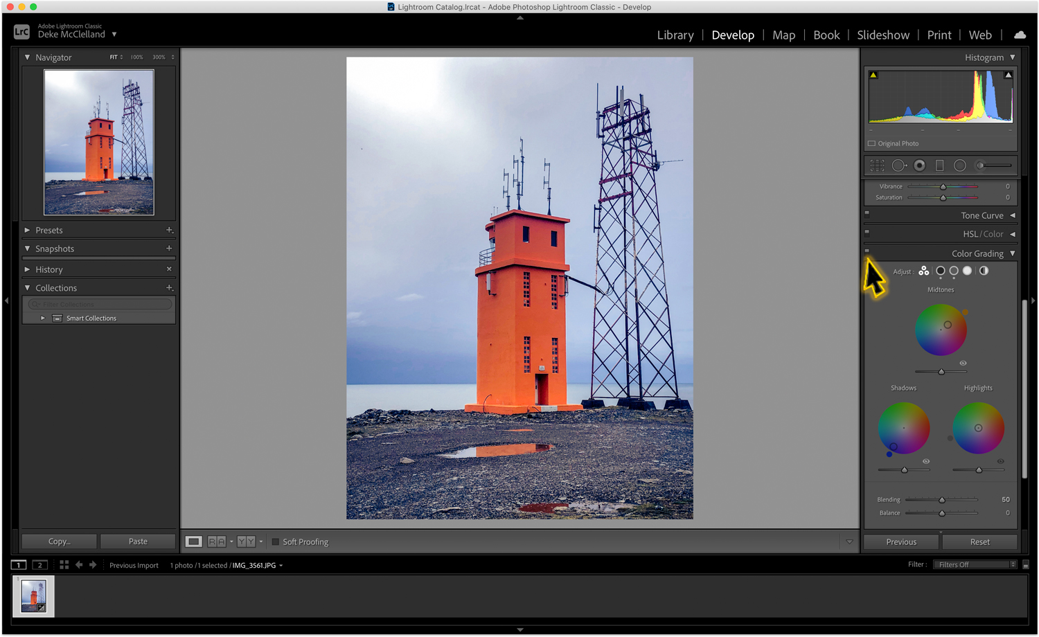 Orange lighthouse in Iceland with Lightroom interface