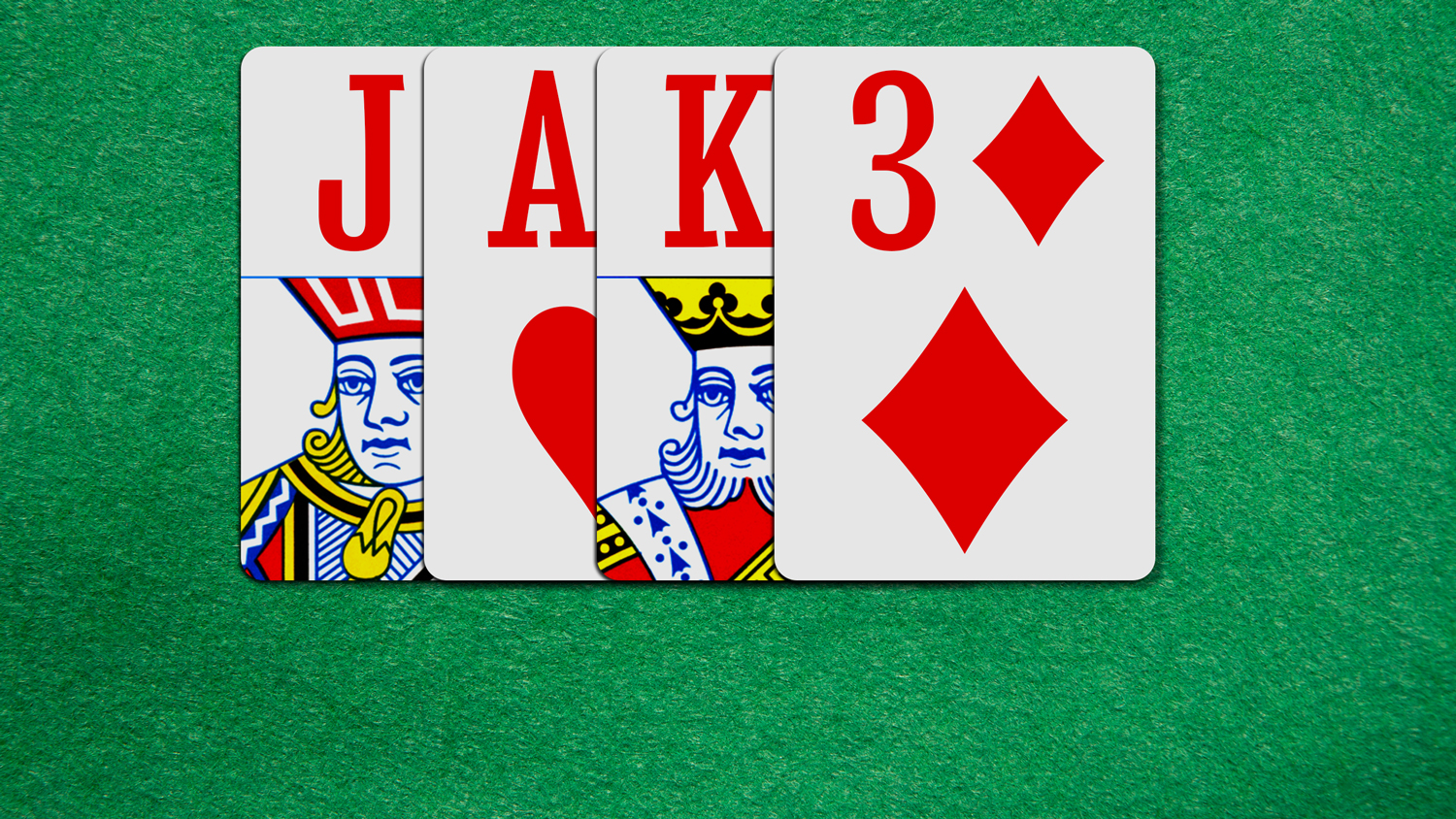 The name Jake spelled with four playing cards on a green background.