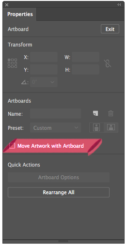 The Properties panel in Illustrator with Move Artwork checkbox
