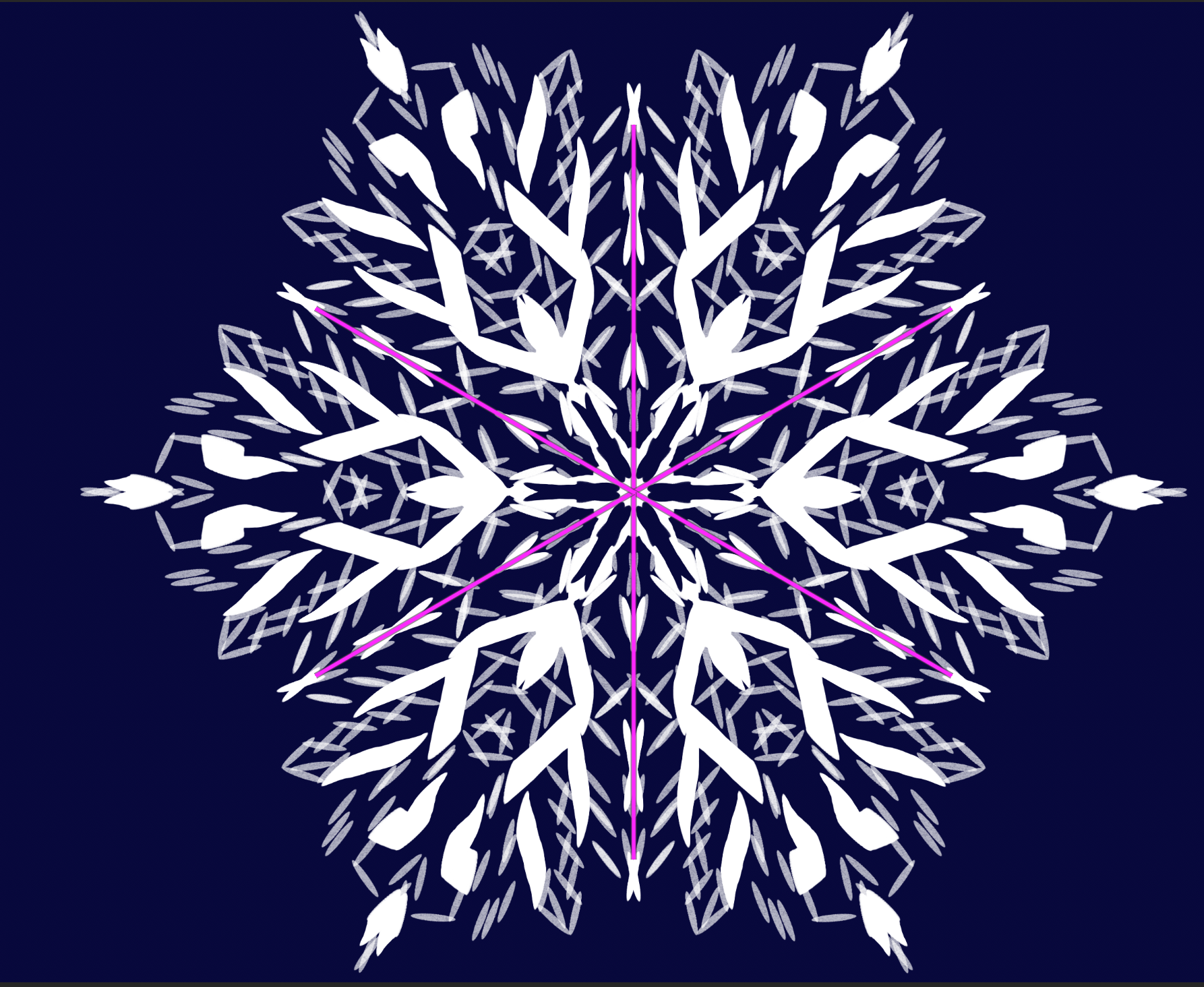 A snowflake drawn with the Mandala effect in Photoshop