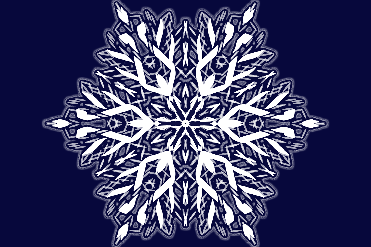 A snowflake mandala with an icy outer glow effect applied