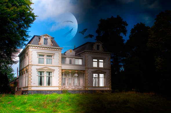 Turn a daytime mansion into a haunted nighttime house in Photoshop