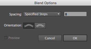 The Blend Options dialog box in Adobe Illustrator