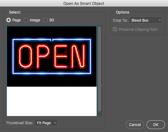 Open an Illustrator file as a smart object in Photoshop
