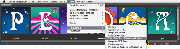 Using Bridge's Load Files into Photoshop Layers command