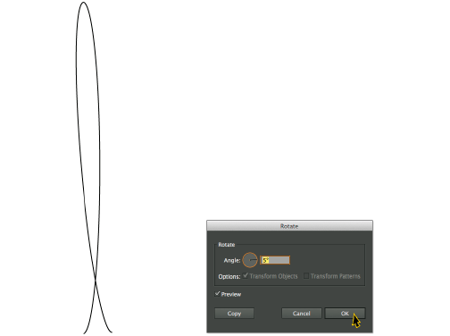 An ellipse turns into a cursive L in Adobe Illustrator