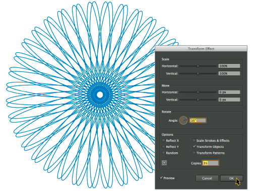 Now we have a true hypotrochoid in Adobe Illustrator