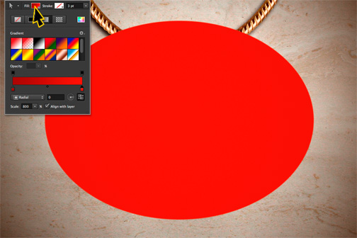 Photoshop ellipse with gradient