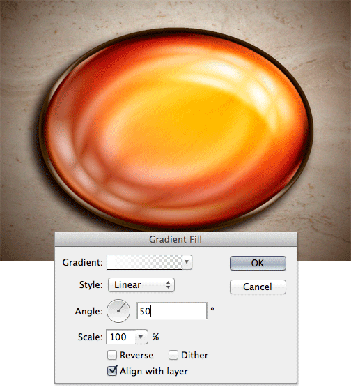 Fill the ellipse with a gradient in photoshop