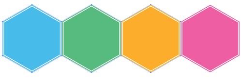 four hexagons in Illustrator