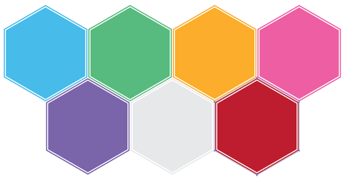 seven hexagons in Illustrator