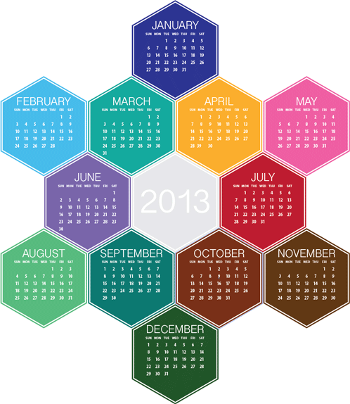 final hexagon calendar in Illustrator