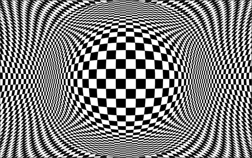 Op Art spherical checkerboard in Photoshop