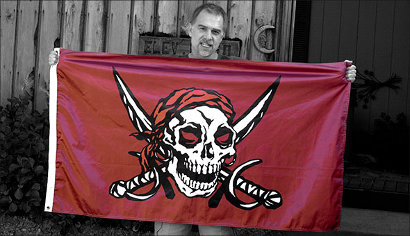 Deke and the pirate flag