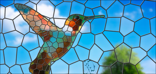 The final hummingbird, rendered as a stained-glass window
