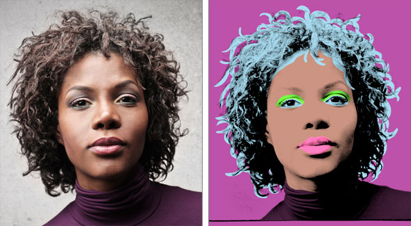 The Andy Warhol silkscreen effect, in Photoshop, before and after