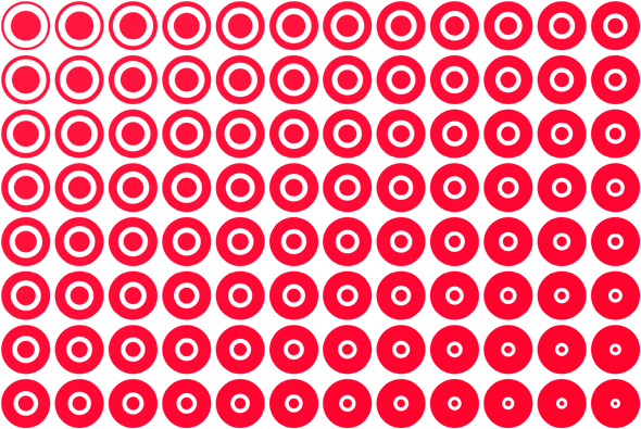 A bunch of Target logos in Adobe Illustrator