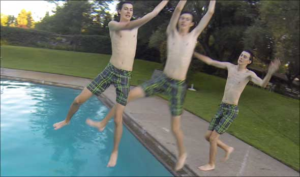 GoPro photo of Wheeler Strand leaping into pool