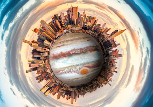 Industrious little planet created in Photoshop