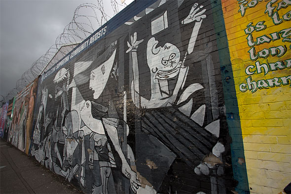 Guernica homage on Peace Wall in Belfast