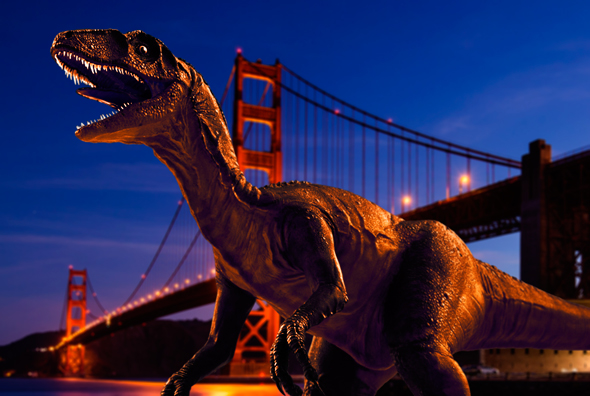 3D Dinosaur from Pixel Squid placed to run wild in San Francisco