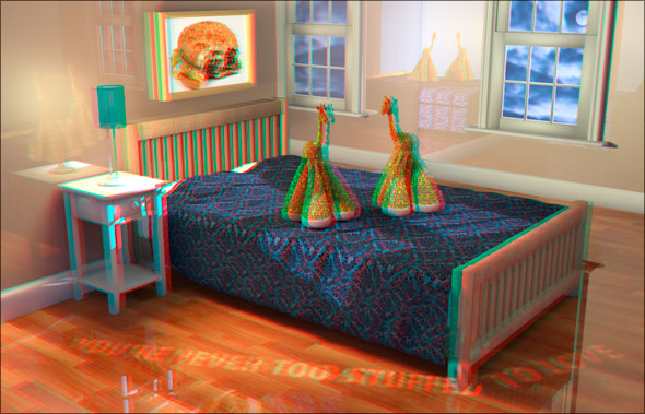 Photoshop CS5 Extended 3D stereoscopic bedroom
