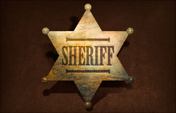Photoshop CS5 Extended old metal sheriff's star