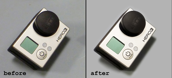 A product shot of the GoPro before and after cleaning up.