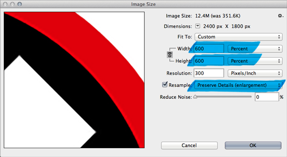 how to make a file bigger in photoshop