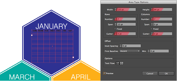 Set up a table for the dates in Illustrator