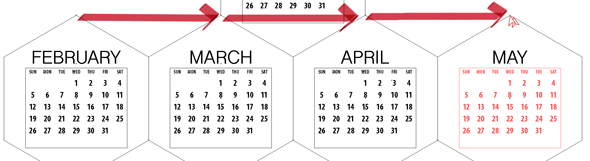 Copy the dates to each month by dragging the alignment point
