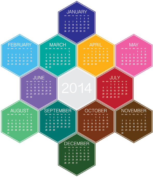 A 2014 calendar created in Illustrator