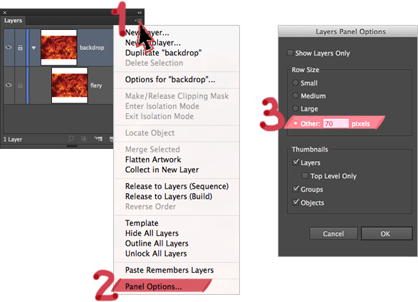 Increasing the thumbnail size in the Illustrator Layers panel