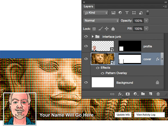 Photoshop template for Facebook cover and profile