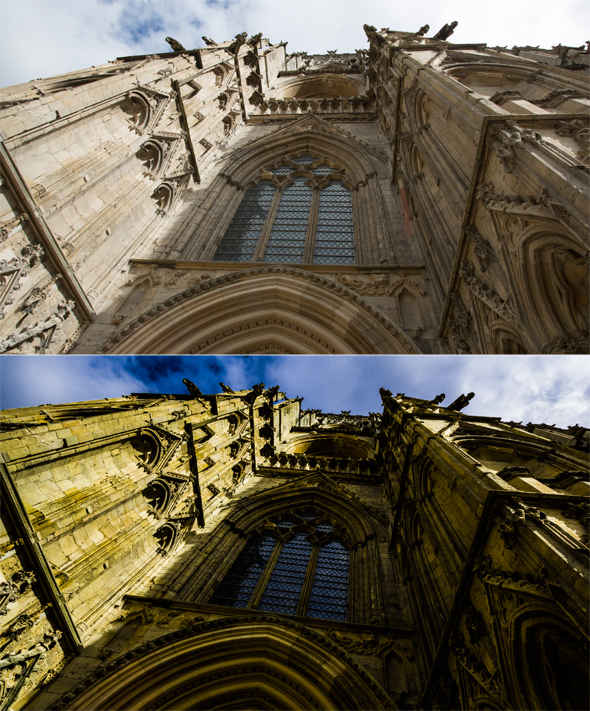 Before and after developing in Camera Raw