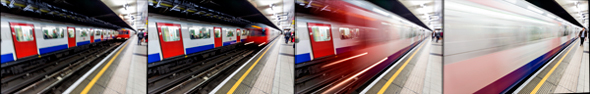 Four motion-filled images of the London Underground
