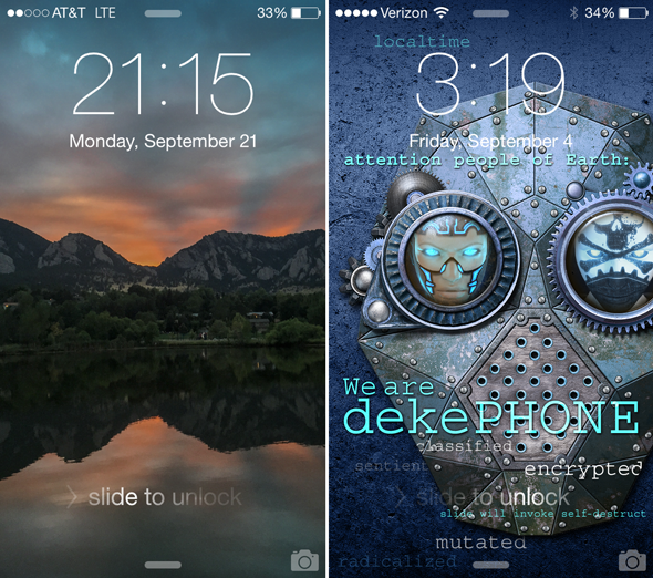 Two custom home screens created in Photoshop for the iPhone 6.
