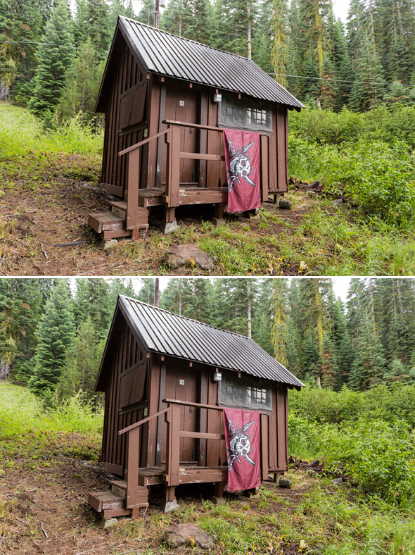 A rustic cabin and pirate lair before and after power lines are removed in Photoshop.