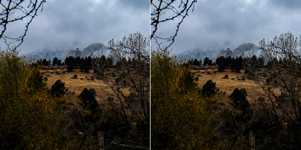 Mountain view before and after power lines are removed in Photoshop