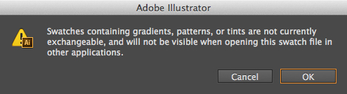 Warning dialog about creating an ASE file with gradients