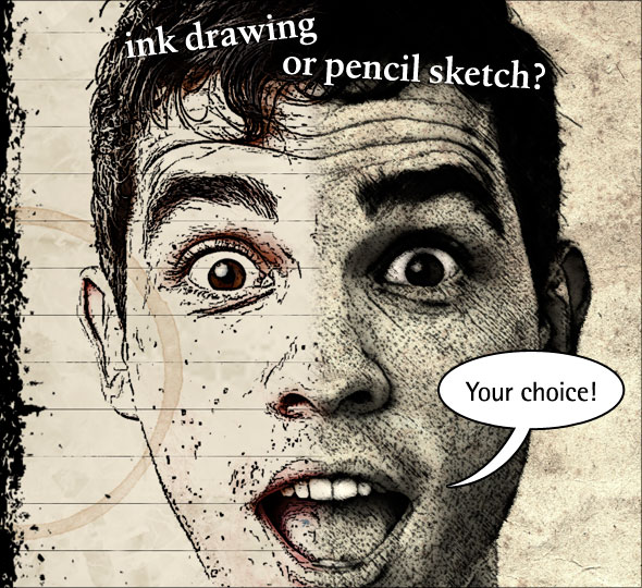 Creating an ink drawing or a pencil sketch in Photoshop